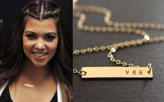 Gold Bar Necklace Initial Bar Nameplate bar FREE by JewelryBlues, $34.00