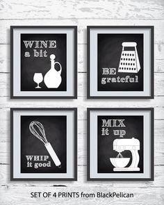 Kitchen Decor Art Print Set, Kitchen Chalkboard Print Set, Chalkboard Poster Set, Kitchen Set of 4 - Art Prints