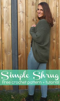 Free crochet pattern with photo tutorial for a Simple Shrug   Haaknerd via @haaknerd