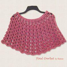 Capa roja de ganchillo hombro caliente Crochet de verano