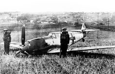 The pilot of this Messerschmitt BF109E managed to crash land after being forced from the sky during the Battle of Britain