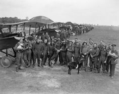 FIRST WORLD WAR 1914 1918 (Q 12049) The Officers of 85th Squadron in front of their S E 5A Scouts at St Omer Aerodrome.