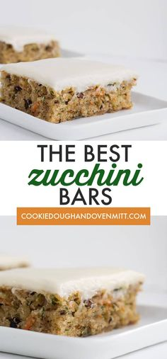 zucchini recipes These are the best zucchini bars! They taste like a moist spice cake with a cream cheese frosting. Youll find cinnamon, shredded zucchini and carrots, and walnuts in these bars. This is one of the best zucchini recipes out there! Zucchini Desserts, Zucchini Bars, Best Zucchini Recipes, Zucchini Chips, Shredded Zucchini Recipes, Zucchini Cookies, Zucchini Brownies, Baked Zuchinni Recipes, Desert Recipes