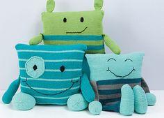 Monster Pillows - knitting pattern by Rebecca Danger.  Fun knitting pattern…