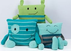 Monster Pillows - knitting pattern by Rebecca Danger.  Fun knitting pattern…
