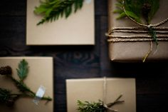 Rustic Holiday Gifts with Greenery #green #camillestyles