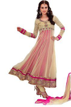 Beige embroidered net anarkali suit Fabric - Net Color - Beige  http://valehri.com/salwar-kameez/789-beige-embroidered-net-anarkali-suit.html