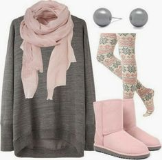 Winter fashion:  For the warmer winter days. patterned tights, long plain sweater, a scarf to go with tights, and boots that go with it. In this case comfortable Ughs or something.