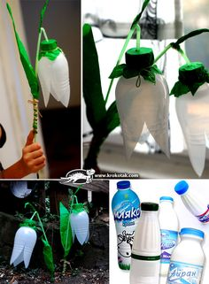 DIY Plastic Bottle Snowdrops I think we Dutchies can use these as lantarn for 11 November? Just adding the Stalk of the Flower together with our Lantarnlight and making an extra hole for the little lamp...... Forvme a must try, the kids will love it! :-D