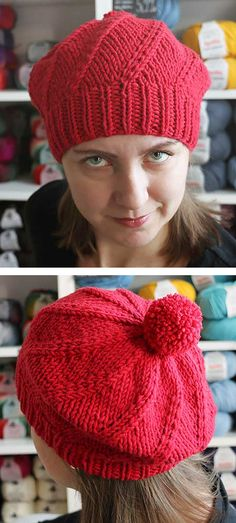 Free Knitting Pattern for Easy 2 Row Repeat Picholine Hat - Slouchy beret or tam with 2 row repeat stitch that creates a swirl. Sizes Child, Adult Small, Adult Large. Rated very easy by Ravelrers. Designed by Jocelyn Tunney. Pictured project by Prskavka