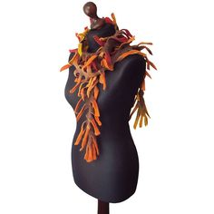 Felted scarf felted boa felt collar felted necklace yellow orange red... (€63) ❤ liked on Polyvore featuring accessories and scarves