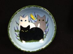 Ceramic Bowl with Kitty Cats and Butterfly in by TimesTinCup, $11.00