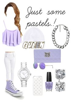 """Just some pastels.!"" by cheekez21 ❤ liked on Polyvore featuring Wet Seal, Converse, DKNY, Love Moschino, Joy Happy People, Illesteva, 2Me Style, OPI, MANGO and Blue Nile"