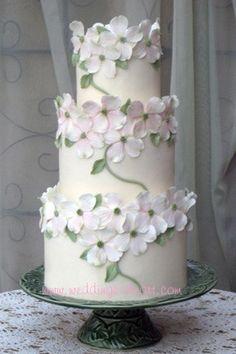Pink dogwoods wedding cake by sharoncakes, via Flickr