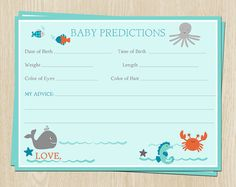 Hey, I found this really awesome Etsy listing at https://www.etsy.com/listing/199039564/baby-predictions-cards-in-under-the-sea