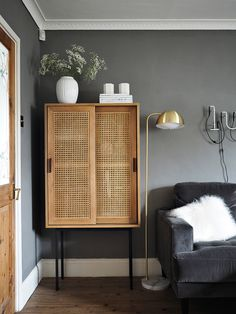 Rattan Cabinet of Dreams – Pretty and Practical My Living Room, Home And Living, Living Room Decor, Living Spaces, Rattan Furniture, Furniture Design, Cabinet Furniture, Home Renovation, Home Remodeling