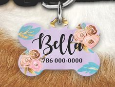 Personalized Dog Tag - Dog ID Tag - Personalized Bone Dog Tag - Custom Pet ID Tag- Floral Pet Tag-Dog Tags For Dogs- Girly Pet Tag by MysticCustomDesignCo on Etsy