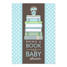 """Bring A Book Sweet Owl Baby Shower Invitation 5"""" X 7"""" Invitation Card"""