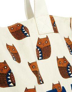 Pull&Bear | Pull&Bear Geometric Owl Print Shopper Bag at ASOS