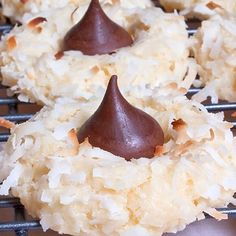 A simple and sweet coconut macaroon recipe.. Chocolate Kiss Macaroon Recipe from Grandmothers Kitchen.
