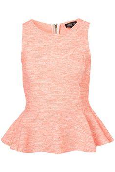 Topshop Sleeveless Boucle Peplum Top in Pink (fluro orange) | Lyst