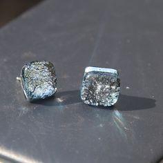 Fused Glass Stud Earrings - Light Blue Silver Dichroic by leadlightbyettore on Etsy https://www.etsy.com/au/listing/122420622/fused-glass-stud-earrings-light-blue