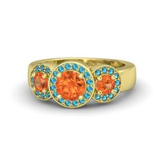 Round Fire Opal 14K Yellow Gold Ring with Fire Opal and London Blue Topaz | Cora Ring | Gemvara