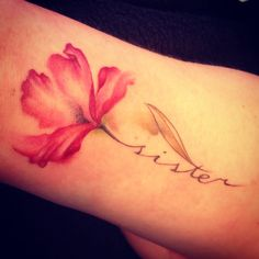 Watercolor flower tattoo with script
