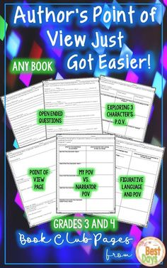 Are you looking for a way to help your students make connections from the author, to characters, and to themselves? This Book Club packet can be used to guide students through a study or used as a whole class with any fictio Elementary Teacher, Upper Elementary, Elementary Schools, Teaching Resources, Teaching Ideas, Grammar Activities, Teaching Writing, Teaching Materials, Fifth Grade
