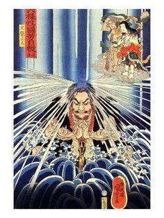 Kuniyoshi UTAGAWA, Japan Japanese ukiyo-e style of woodblock prints and painting. He was a member of the Utagawa school. Japanese Artwork, Japanese Painting, Japanese Prints, Japanese Illustration, Art Et Illustration, Japanese Woodcut, Art Asiatique, Traditional Japanese Art, Kuniyoshi