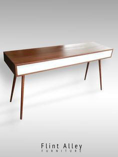 Mid Century Modern Inspired Desk with White by FlintAlleyFurniture Mid Century Desk, Mid Century Furniture, Minimalist Desk, Dining Bench, Mid-century Modern, Wood, Table, Cabinets, Gifts