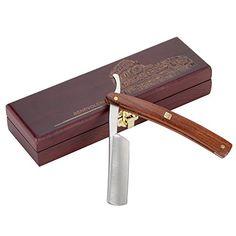 Rasoir Coupe Choux Barbe Professionnel AKUNSZ Rasoir Manuel Lame tranchante en acier inox DIN 17400 avec une boîte en bois, Cadeau Idéal…