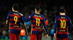 O temido trio de ataque do Barcelona.