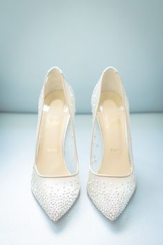 sparkly Christian Louboutin wedding shoes