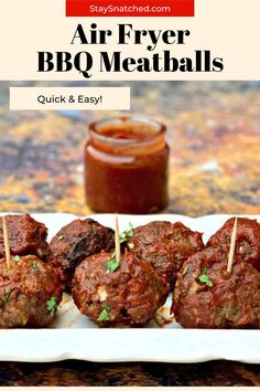 This Easy Air Fryer BBQ Beef Meatballs recipe is prepared with ground beef or turkey using fresh or frozen meat. These are ready in no time and don't take long to cook. These are perfect for weeknight dinners! Air Fry Recipes, Air Fryer Dinner Recipes, Healthy Recipes, Cinderella Recipe, Beef Meatball Recipe, Bbq Beef, Air Fryer Healthy, Party Food And Drinks, Weeknight Dinners