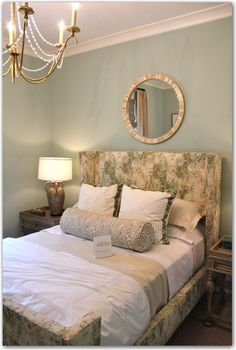 The Painted House — obsessed with offbeat beauty Mirrors And Chandeliers, Pretty Bedroom, Duvet Bedding, Beautiful Bedrooms, Cottage Chic, Coastal Living, Interior Inspiration, Home Remodeling, Master Bedroom