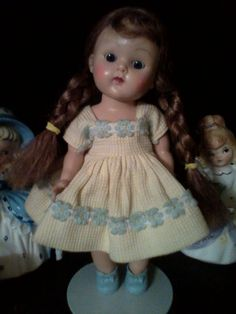 "Strung Ginny with yellow ""Margie"" outfit, tagged, excellent! #DollswithClothingAccessories"