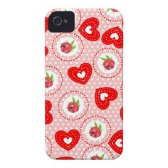 Shabby Chic Style Roses and Red Love Hearts Print on Designer Phone Cases.  A fabulous pattern in a shabby chic style of ditsy roses and sweet red and white love hearts on a pink and white polka dot base, such a cute girly phone case.