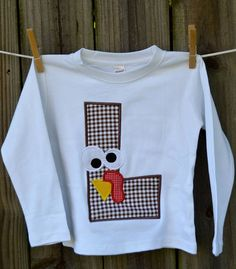Personalized Turkey Initial Applique Shirt or Onesie for Boy or Girl on Etsy, $25.00
