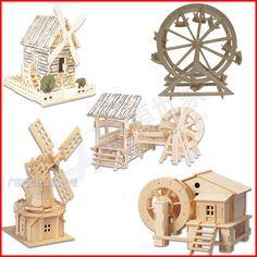 木制diy小屋建筑模型 小木屋礼物手工制作拼装房子场景模型水磨坊