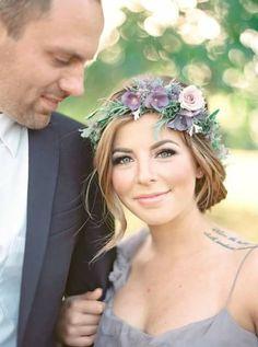 bride, boho, lilac, floral crown