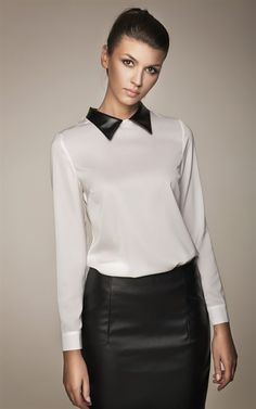 Misebla Shirt With Leather Collar White