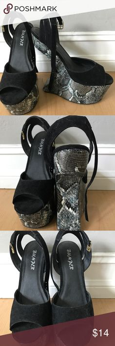 Wedge Bumper Snakeskin Print Snakeskin print half wedge shoes. Very comfortable. Great condition. Worn once Shoes Wedges
