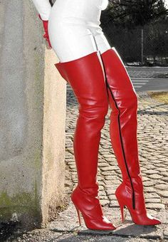 White leather pants and red thigh boots