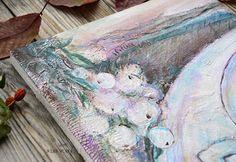 """Autumn tea"". Detail \ Paint by Yasnaya Jane\ painting, landskape, acril, mixed media, a cup"