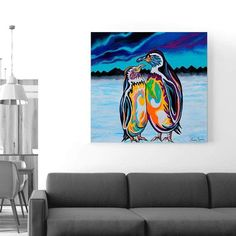 Always together, Alec & Annie patter around the McZoo to see what's going on. Lovable penguin art by iconic Scottish artist Steven Brown. Steven Brown Art, Penguin Art, Empty Wall Spaces, Canvas Art, Canvas Prints, Penguins, Annie, Solid Wood, Modern Art