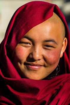 Buddhist nun in Choglamsar in the Leh Valley, Ladakh, Jammu