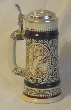 Vintage Beer Stein 1978 Avon Rainbow Trout English Setter