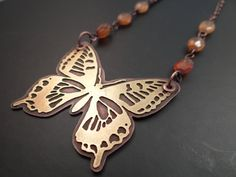 Mixed Metal Butterfly Pendant on Necklace of by LostSparrowJewelry, $37.00