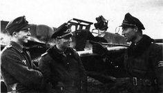 ■ II.Gruppe / Jagdgeschwader 52 -1943- From left: Leutnant Heinrich Sturm (Staffelkapitän 4.Staffel / II.Gruppe. 158 victories), Hauptmann Gerhard Barkhorn (Gruppenkommandeur II. Gruppe. 301 victories), and Oberleutnant Wilhelm Batz (Staffelkapitän 5.Staffel / II.Gruppe. 237 victories).